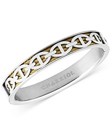 Link Overlay Cable Bangle Bracelet in Stainless Steel & 18k Gold PVD Stainless Steel
