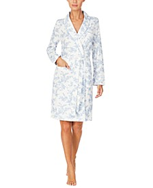 Floral-Print Short Wrap Robe