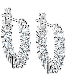 Silver-Tone Extra-Small Crystal Hoop Earrings, 0.50""