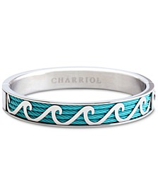 Waves Bangle Bracelet in Blue PVD Cable & Stainless Steel