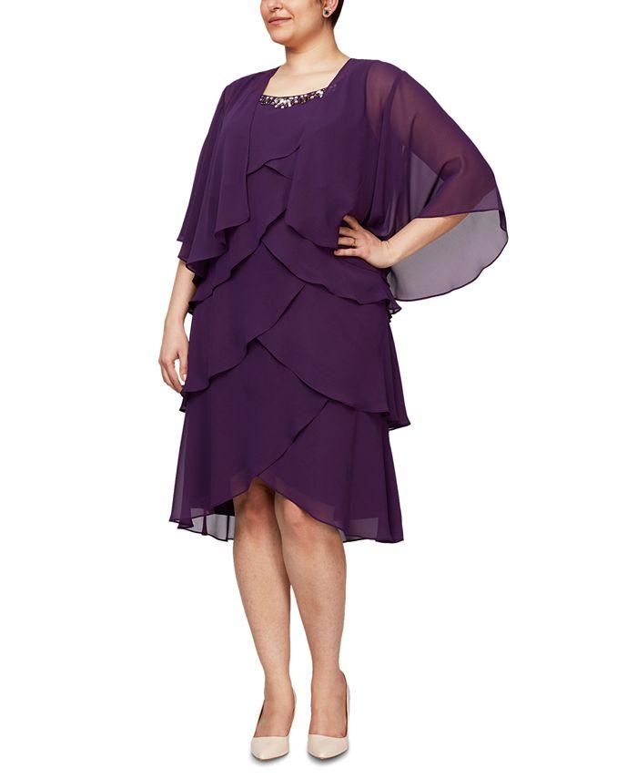 SL Fashions - Plus Size Tiered Dress & Jacket