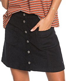 Juniors' Warning Sign Cotton Corduroy Mini Skirt