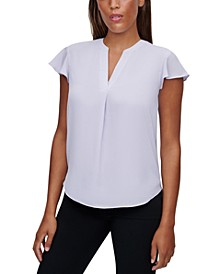 Flutter-Sleeve Split-Neck Top