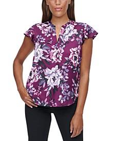 Printed Flutter-Sleeve Top