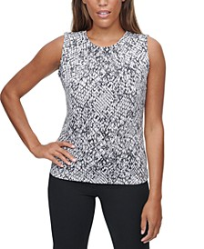 Snake-Print Pleated-Neck Tank