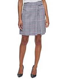 X-Fit Belted Plaid Mini Skirt