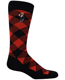 Men's Cashmere Buffalo Check Boot Socks