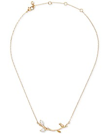 "Gold-Tone Pavé & Imitation Pearl Branch Collar Necklace, 17"" + 3"" extender"