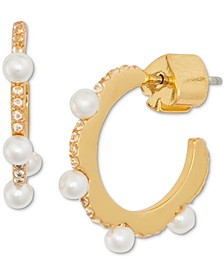 Gold-Tone Extra-Small Pavé & Imitation Pearl Scalloped Huggie Hoop Earrings, 0.45""