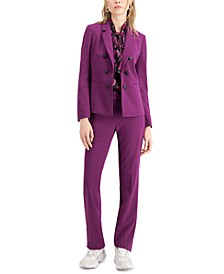 Faux-Double-Breasted Blazer, Printed Tie-Neck Top & Flare-Leg Pants, Created For Macy's
