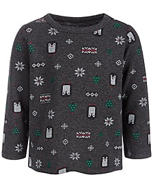 Baby Boys Long-Sleeve Winter-Print Shirt, Created for Macy's
