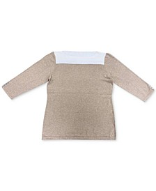 Contrast 3/4-Sleeve Cotton Sweater, Created for Macy's