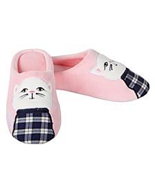 Plaid Cat Women's Plush Slipper