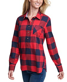 Buffalo Plaid Cotton Roll-Tab-Sleeve Top