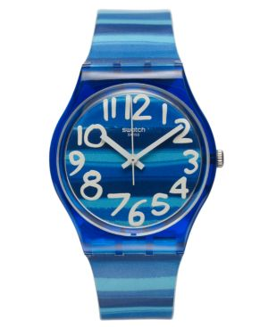 SWATCH Watch, Unisex Swiss Linajola Multi-Color Plastic Strap 34Mm Gn237 in Blue