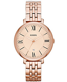 Fossil Women's Jacqueline Rose Gold-Tone Stainless Steel Bracelet Watch 36mm ES3435