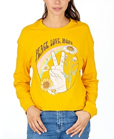 Juniors' Long-Sleeve Graphic-Print Cotton T-Shirt