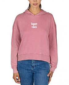 Juniors' Happy Vibes Hooded Sweatshirt