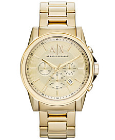 A|X Armani Exchange Watch, Men's Chronograph Gold Ion-Plated Stainless Steel Bracelet 45mm AX2099