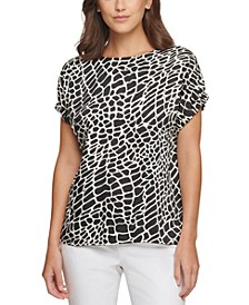 Animal-Print Elastic-Sleeve Top