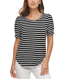 Striped Crewneck Puff-Sleeve Top