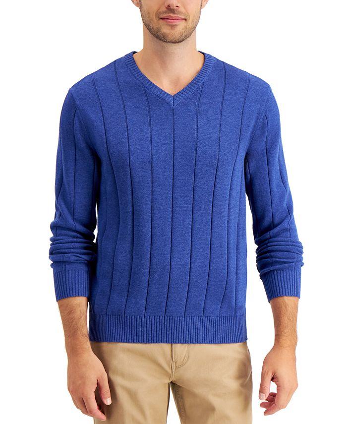 Club Room - Men's Drop-Needle V-Neck Sweater