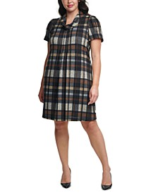 Plus Size Plaid Cowlneck Dress