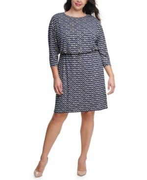 Plus Size Printed Blouson Dress
