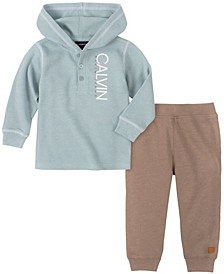 Baby Boys Thermal Hooded Bodysuit Pant Set