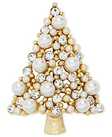 Gold-Tone Crystal & Imitation Pearl Tree Pin, Created for Macy's