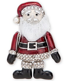 Silver-Tone Pavé & Imitation Pearl Flexible Santa Pin, Created for Macy's