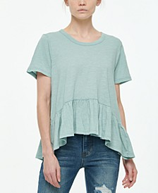Juniors' Short-Sleeve Peplum T-Shirt
