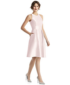 Alfred Sung Pleated Satin A-Line Dress