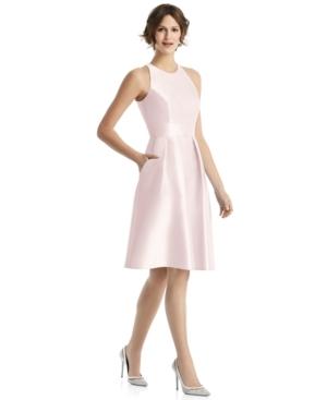 Pleated Satin A-Line Dress