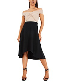 Two-Tone Off the Shoulder Midi Dress
