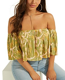 Printed Pleated Crop Top