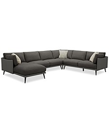 Marleese 4-Pc. Fabric and Leather Sectional with Chaise, Created for Macy's