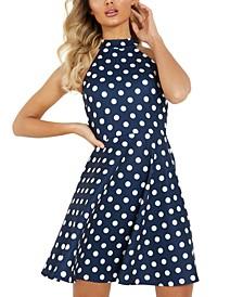 Polka-Dot Fit & Flare Halter Dress