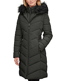 Calvin Klein Faux-Fur-Trim-Hooded Puffer Coat, Created for Macy's