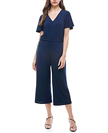 Petite Belted Cropped Jumpsuit