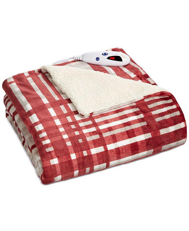 Biddeford Plaid Heated Velour/Fleece Throw