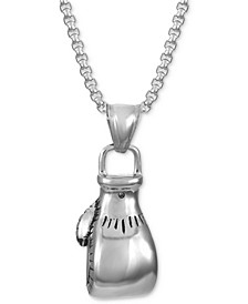 """INC Men's Stainless Steel Boxing Glove 24"""" Pendant Necklace, Created for Macy's"""