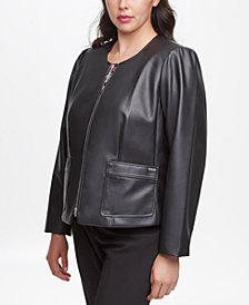 Calvin Klein Plus Size Faux-Leather Zip Jacket
