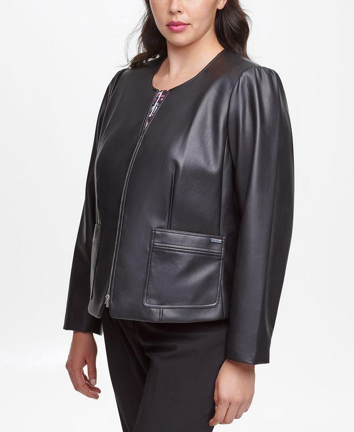 Calvin Klein - Plus Size Faux-Leather Zip Jacket