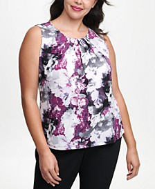 Plus-Size Printed Pleated-Neck Top