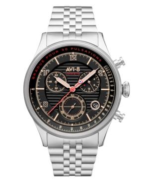 Men's Flyboy Silver-Tone Solid Stainless Steel Bracelet Watch
