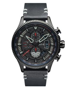 Men's Hawker Hunter Black Genuine Leather Strap Watch