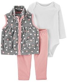 Baby Girl  3-Piece Polka Dot Little Vest Set