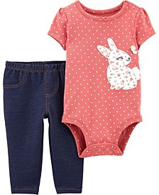 Baby Girl  2-Piece Bunny Bodysuit Pant Set