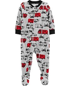 Baby Boy  1-Piece Firetruck Fleece Footie PJs